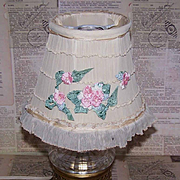 C.1930 Ladies Boudoir Lampshade - Cream Lace/Tulle with Pink Silk Flower Appliques!