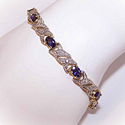 VIntage STERLING SILVER Vermeil, Sapphire Paste & Diamond Tennis Bracelet/Fashion Bracelet!