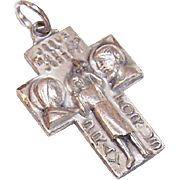Vintage STERLING SILVER Religious Charm or Medal - Joseph, Mary & Infant Jesus!