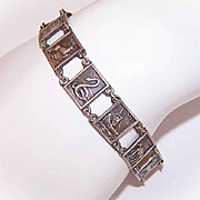 Vintage STERLING SILVER Panel Bracelet from Palestine - Ancient Images on Each Link!