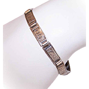 Dated 1915 STERLING SILVER Forget-Me-Not Link Bracelet with Initial Links!