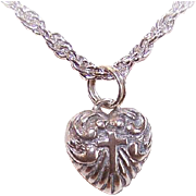Vintage STERLING SILVER Heart with Cross Charm or Pendant!