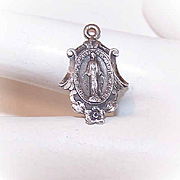 Vintage STERLING SILVER Religious Charm or Medal - Holy Virgin Mary/Miraculous Medal!