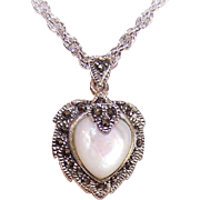 Vintage STERLING SILVER, Marcasite & Mother of Pearl Heart Pendant!