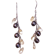 Vintage STERLING SILVER, Freshwater Black Pearl & Quartz Drop Earrings!