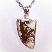 Vintage STERLING SILVER Pendant with Brown Agate - Shape of a Tusk/Claw!