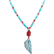 NATIVE AMERICAN Turquoise Heishe & Red Coral Bead Necklace - Carved Turquoise Leaf Drop!