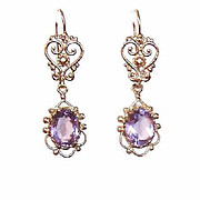 VICTORIAN REVIVAL 14K Gold & Amethyst Drop Earrings - For Pierced Ears!