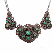 ART DECO Costume Necklace - Silver Tone Metal & Peking Glass!