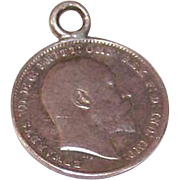 Dated 1903 ENGLISH SILVER Three Pence Coin Charm - Edward VII!