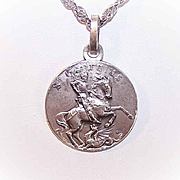 Vintage FRENCH SILVERPLATE Religious Medal or Pendant- Saint George Slaying the Dragon!