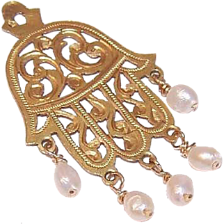 Vintage MIddle Eastern 18K Gold & Freshwater Pearl HAMSA Pendant or Charm!