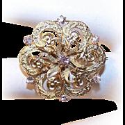 ANTIQUE VICTORIAN 14K Gold & .46 CT TW Diamond Starburst Pin by Krementz!