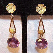 Stunning ART DECO 14K Gold & 9.25 CT TW Alexandrite Drop Earrings!