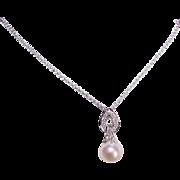 Beautiful ESTATE 14K Gold, Diamond & 8mm Cultured Pearl Pendant Necklace!