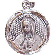 Vintage STERLING SILVER Religious Medal or Charm - Virgin Mary & Sacred Heart of Mary!