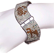 Vintage MEXICAN Sterling Silver, Copper & Crushed Turquoise Inlay Zodiac Link Bracelet!