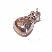 Vintage EUROPEAN Sterling Silver Charm - $10,000 Money Bag!