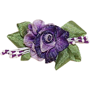 FRENCH RIBBONWORK Floral Applique/Embellishment - Purple Ombre Silk with Sugar Pips!