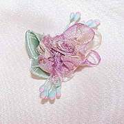 FRENCH RIBBONWORK Floral Applique/Embellishment - Lavender Silk with Satin Leaves & Sugar Pips!