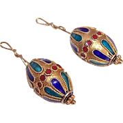 2 ETRUSCAN REVIVAL Silver Gilt & Enamel Earring Drop Beads with Wire!