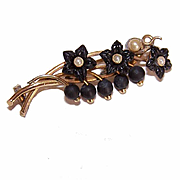 ANTIQUE VICTORIAN Mourning Pin - Gold Filled, Carved Jet/Glass - Lily of the Valley Design!