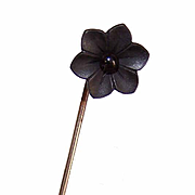 ANTIQUE VICTORIAN Mourning Stick Pin - Gold Filled, Carved Black Jet FORGET ME NOT Flower!