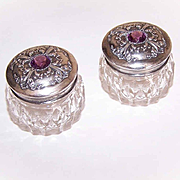 Pair ANTIQUE EDWARDIAN Sterling Silver & Amethyst Glass Paste Powder Jars/Dresser Jars!