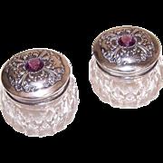 Pair ANTIQUE EDWARDIAN Sterling Silver & Amethyst Glass Paste Powder Jars/Dresser Jars!