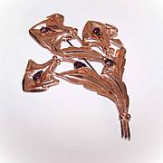 1950s Retro Modern STERLING SILVER Vermeil & Purple Rhinestone Floral Pin/Brooch!