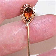 ANTIQUE EDWARDIAN 10K Gold, Citrine & Natural Pearl Stick Pin!