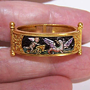 MUSEUM QUALITY Italian 18K Gold & Micromosaic Scarf Clip - Cherub In Chariot Pulled by Winged Creature!