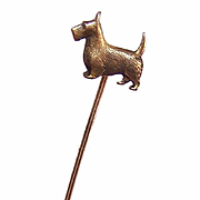 VINTAGE Gold Plated Stick Pin by SWANK - Scottish Terrier/Scotty Dog!
