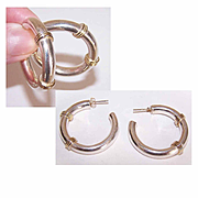 Gorgeous STERLING SILVER & Gold Vermeil Hoop Earrings for Pierced Ears!