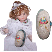 ANTIQUE Easter Egg for a Doll - Handmade Felt with Victorian Die Cut!