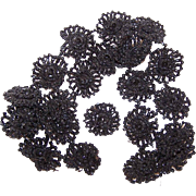 ANTIQUE VICTORIAN Beaded Mourning Trim from a Cape - Black Glass Rosettes!