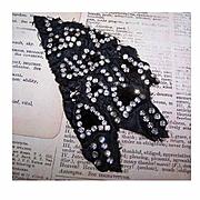 ART DECO Costume Remnant with 141 Hand Sewn Rhinestone Beads!