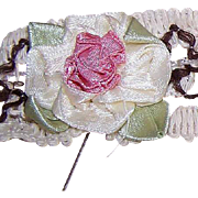 Vintage Cotton Trim Remnant with 3 Handmade Ribbon Roses (Satin)!