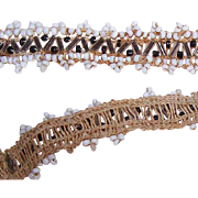 Vintage REMNANT of Beaded Trim - White/Black Rounds with Clear Bugle Beads!
