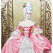 FRENCH C.1920 Candy Box Label - Lovely Lady in a Pink Ball Gown!