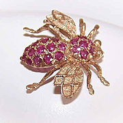 Vintage 14K Gold & Ruby Insect Pin - Bee Pin - Scatter Pin!