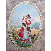 Victorian FRENCH Candy Box Label - A Couple with Their Dog in the Fields!
