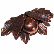 Vintage BELL TRADING POST Copper Pin/Brooch - Berry & Leaf Design!