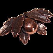 Vintage BELL TRADING POST Copper Pin/Brooch - Berry & Leaf Design!