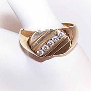 Vintage 14K Gold & .25CT TW Diamond Men's Classic Diagonal Wedding Ring/Wedding Band!