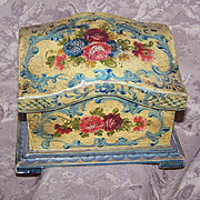 C.1930 ITALIAN TOLE Wooden Box - Handpainted with LOTS of Florals - Mustard/Pale Blue!