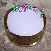 ART DECO English Bone China Trinket Box by Tuscan Plant - Black/Gold with Lots of Florals on the Lid!