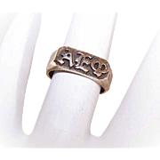 Vintage 14K Gold Sorority Signet Ring for ALPHA EPSILON PHI!