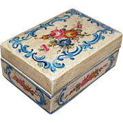 C.1935 ITALIAN TOLE Wooden Box - Handpainted with LOTS of Florals - Cream/Red/Light Blue!