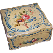 C.1935 ITALIAN TOLE Wooden Box - Handpainted with LOTS of Florals - Cream/Red/Light Blue